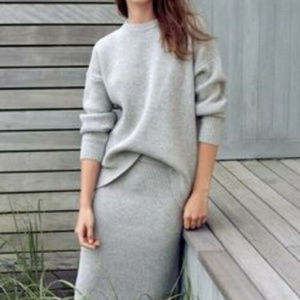 "Madewell XS Gray Wool ""Moderne"" sweater Skirt Rib"